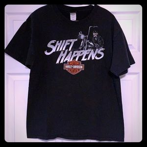 "Harley Davidson ""Shift Happens"" tshirt."